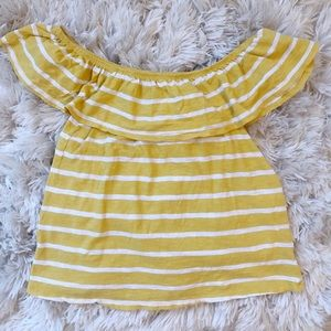 Old Navy Off the shoulder yellow/white striped top
